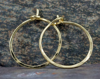 18k Gold Hoop Earrings - Classic Small Gold Hoops - Solid 18k Gold Endless Hoops