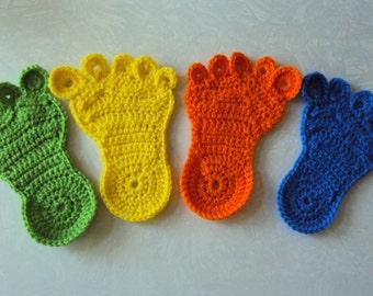 Foot Coasters - Crochet Coasters - Set of 4 - Crochet Foot Coasters