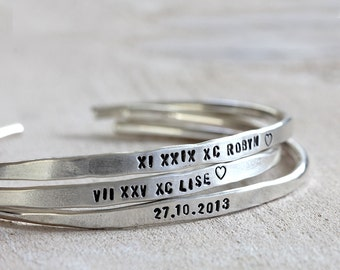 Personalized silver bracelet sterling silver cuff or brass cuff custom bracelet bangle