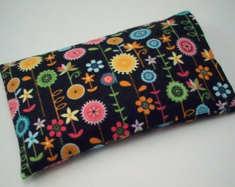 Heat or Cold Therapy Pack - Unscented Rice Bag - Removable Washable Cover - Flannel Flowers Boo Boo Pack - Heating Pad