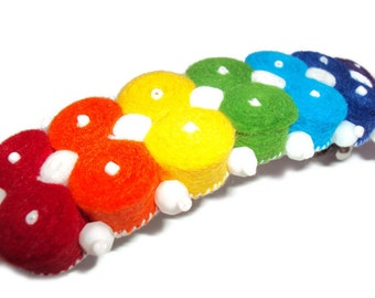 Multicolor felt hair clip, rainbow barrette, Multi-color hair Accessories, rainbow hair clips, hair clip made of felt rainbow