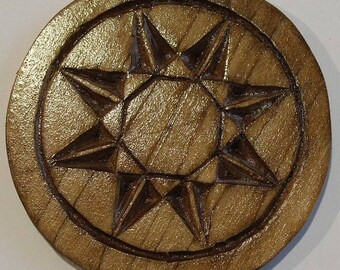 Hand Carved Wood Coasters Set of 4
