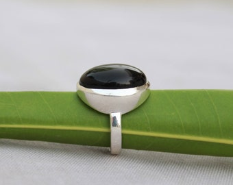 Natural Black Onyx In Handmade Sterling Silver Ring 925 Sterling Silver Ring