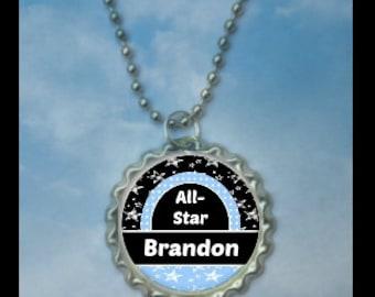 1 Personalized All Star Bottlecap Necklaces,GLITTER or Plain, allstars gifts, t-ball, baseball gifts, baseball necklace, all-star team gift