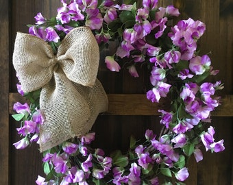 Spring Wreath/Summer Wreath/Sweet Pea Wreath/Purple Wreath/Front Door Wreath/Floral Wreath