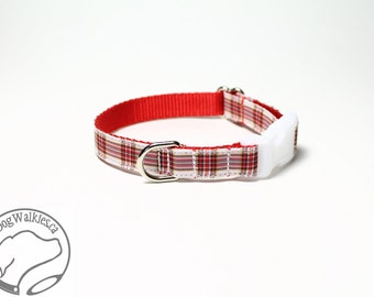 "Dress Stuart Tartan Small Dog Collar - Thin Dog Collar - 1/2"" (12mm) Wide - Red White Plaid - Choice of collar style and size"