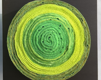 Felted circle wall piece, contemporary craft  #SQ61