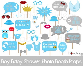 Boy baby shower photo booth props. Printable. Blue and gray.  DIY baby shower bubble speech. Instant download. PDF file. High resolution.