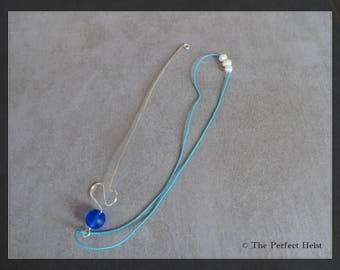 Orifice Hook, Spinning, Blue, Silver, Wire, Fresh Water Pearls