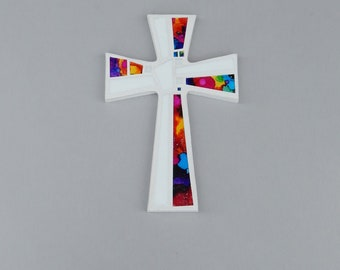 "Mosaic Wall Cross, White with Hand Painted Abstract Rainbow Glass, Handmade Stained Glass Mosaic Cross Wall Decor, 12"" x 8"""