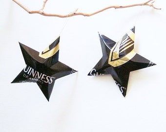 Guinness Stout Draught Style Beer Stars Ornaments Aluminum Can Upcycled Oktoberfest