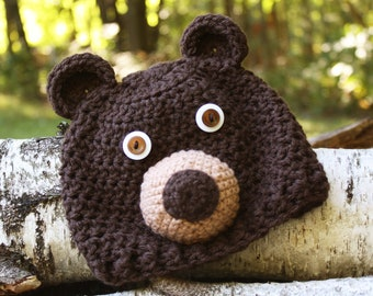 Brown Bear Hat, Bear Hat, Crochet Beanie, Animal Hat, Boys, Girls, Men, Women, Holiday Gift, Halloween Costume, Baby Shower Gift, Baby