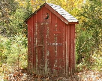 Outhouse, Photograph, Bathroom, Home Decor, Photo, Vintage, wall art, old, photography, free shipping, metal, print