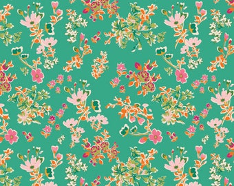 Cottagely Posy PRS 215 - PRIORY SQUARE Limited Edition Teal Pink and Orange Ditsy Floral designed by Katy Jones for Art Gallery Fabric