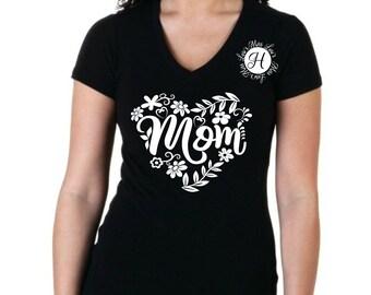 Mom heart  SVG DFX Heart svg, Mothers day svg, Mom svg, commercial license, floral svg,
