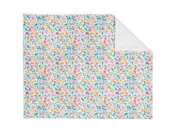 Crib Blanket Flora Jane Floral - Baby Blanket - Minky Blanket - Floral Blanket - Floral Baby Blanket - Girl Blanket - Floral Bedding