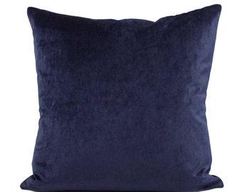 Blue Velvet Throw  Pillow Cover, Choose Your Size 18x18, 20x20, 22x22, Lumbar Pillow, Velvet Pillow for Couch, Blue Cushion, Accent Pillow