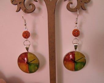 CLEARANCE glass cabochon 25mm orange bead earrings