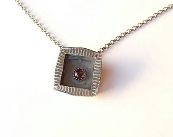 Sterling silver handmade box frame necklace with rhodolite garnet, hallmarked in Edinburgh