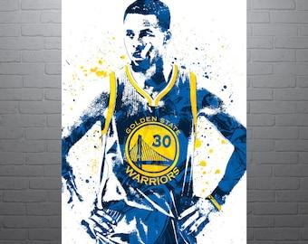 Stephen Curry Golden State Warriors, Sports Art Print, Basketball Poster, Kids Decor, Watercolor Drawing Print, Modern Art, Man Cave