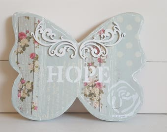 Beautiful Planked Wood Butterfly of Hope