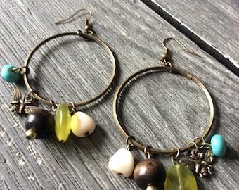 Antique brass hoop earrings