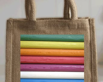 Small Tote Bag in jute - printed with 'rainbow' photo - ideal for books, lunch, shopping, crafts
