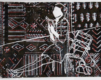 Linocut by girl on chair with bag and book. She thinks of her future, she wants to make plans for ver. Textile prints, designs and behind