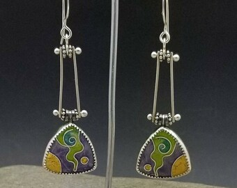 Kinetic Fine Cloisonne Earrings in Sterling Silver with 24k gold Green Gold Purple Violet Pinned Earrings Handmade Mardi Gras