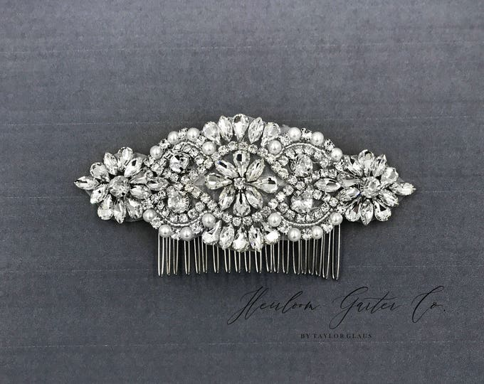 Wedding Hair Comb, Pearl and Rhinestone, Bridal Headpiece, Rhinestone Hairpiece, Hair Tiara, Hair Jewelry, Bridesmaid, Hair Accessory 01S