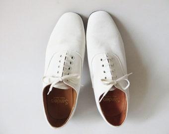 Spiaggia bianca SANDERS tela Derby scarpe estate sposa sposo bianco Brogues Oxfords Gibson vestito bianco scarpe uomo taglia Uk 6 Made In Uk