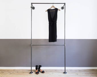 clothes rack - steel pipe - open wardrobe - clothing rack - coat stand - clothing stand - DOPPIO - black galvanized