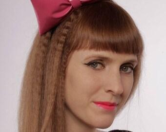 Pink bow hair band   gloss vinyl   cute hair accessory   3D cartoon look   kawaii   gothic lolita   cosplay   costume