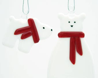 Glassworks Northwest - Polar Bear Mom and Baby Set - Fused Glass Ornament