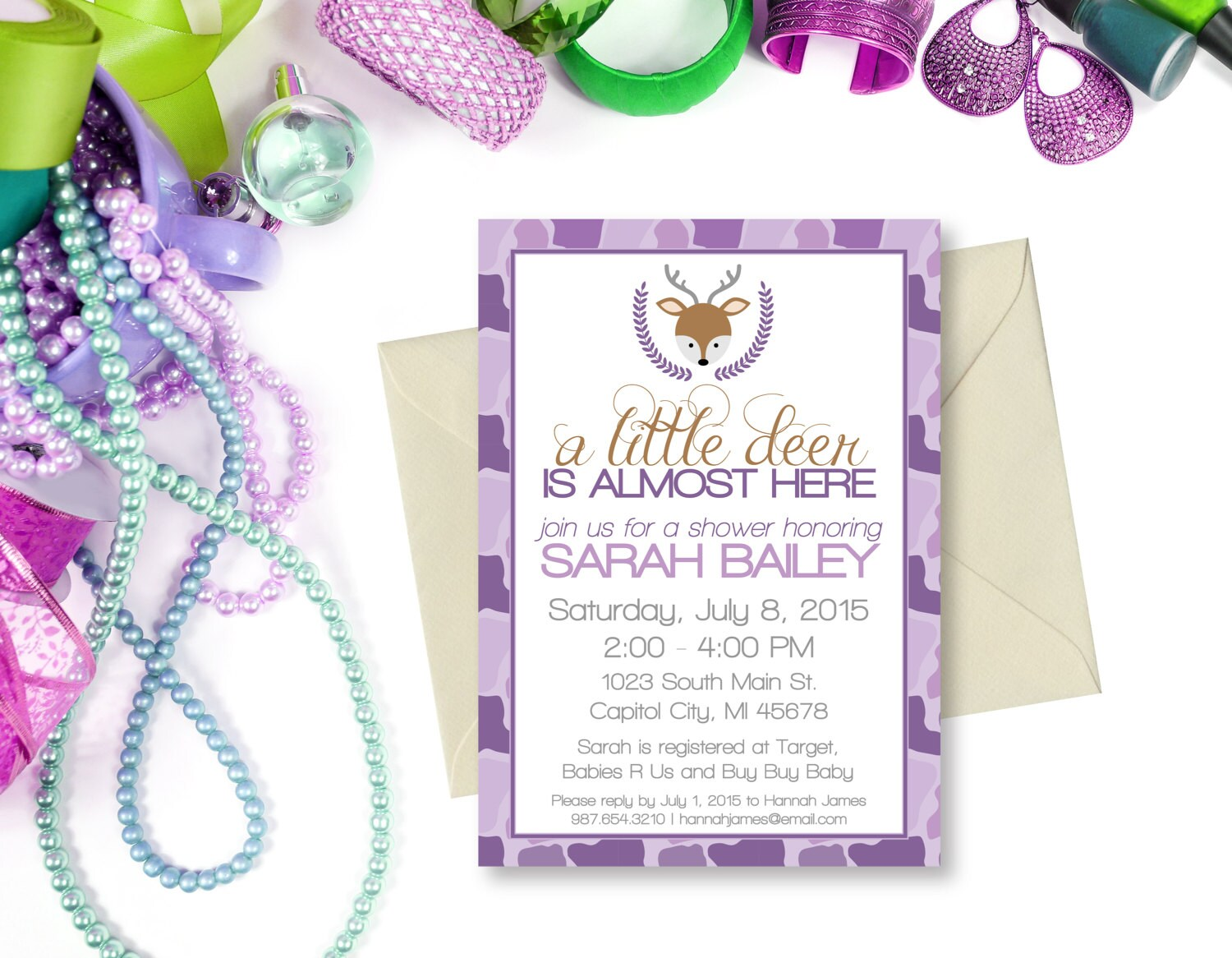 Deer Baby Shower Invitation A little Deer is almost here baby
