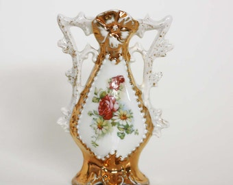 Vintage Shabby Chic Porcelain Bud Vase with Floral Design and Gold Accents