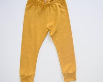 Mustard Colored Leggings - baby kids toddler - stretchy pants - mustard leggings - mustard pants
