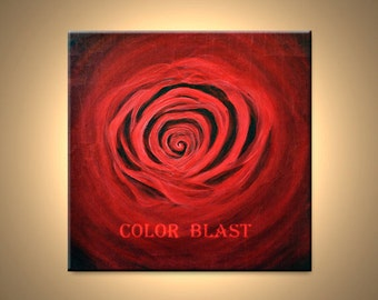 RED ROSE - Abstract Painting Print Mounted and Ready to be hung.  Free Shipping inside US.