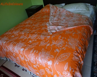 Orange colour floral Turkish soft cotton double bed blanket, bedspread, throw blanket, bed cover.
