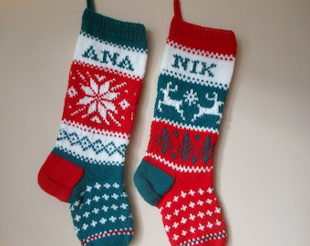 Personalized Christmas Stocking Hand Knitted SET of 2 Stockings Christmas Gift Christmas Decoration