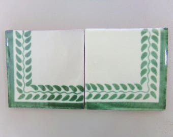15-T80 6x6 Decorative Talavera Corner Tile in Green (Shipping Included)
