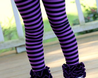 Halloween Ruffle Leggings - Witch Way To The Party - knit ruffle leggings in purple and black - size Newborn to 10 with FREE SHIPPING
