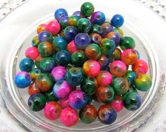100- 8mm Loose Assorted Spray Painted Glass Beads (B12d1)