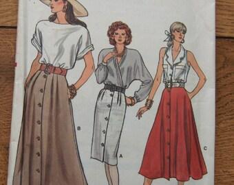 vintage 80s vogue pattern 9946 misses skirt sz 14-16-18 uncut