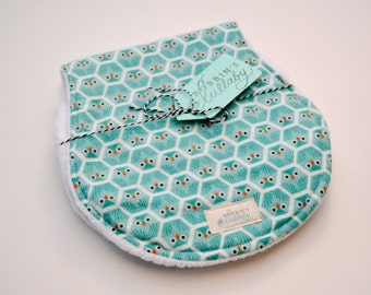 Baby Burp Cloths, Set of Two, Geometric, Teal, Owls, Organic, Super Absorbent Burp Cloths, Baby Shower Gift, Gender Neutral, Cloud9,