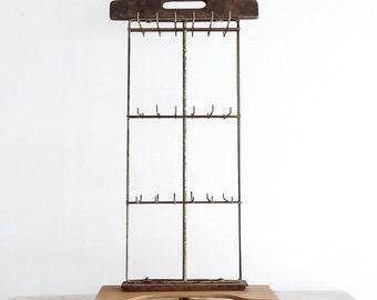 Vintage Rustic Industrial Style Display Rack, Wood and Metal Rack, Craft Organization, Twine Rack, Jewelry Display, Modern Farmhouse