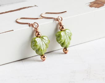Small Leaf Earrings, Bright Olive Green Earrings on Rose Gold Plated Hooks, Chartreuse Green Dangles, Woodland Jewelry