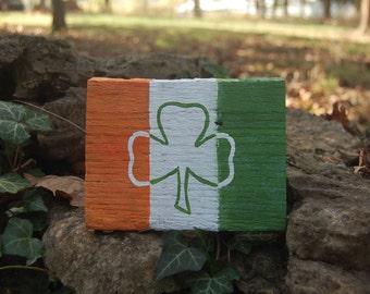 Irish Flag Sign - Double Sided with Shamrock 4.5 x 6