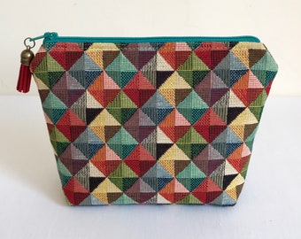 Cosmetic Bag, Makeup Bag, Zipper Pouch, Tapestry Makeup Bag, Geometric, Triangles, Tapestry
