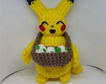 Pikachu, Crochet Pikachu, Pikachu Plush, Pikachu with Eggs, Pokemon Plush, Pokemon Gift, Pikachu Gift, Cute Pikachu, Pikachu Amigurumi
